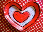 Valentine's Heart on Red Checkered Background — Stock Photo