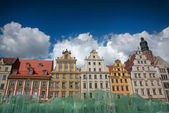 Wroclaw in Poland behind a glass fountain — Stock Photo