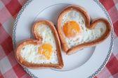 Breakfast in the shape of a heart — Stock Photo