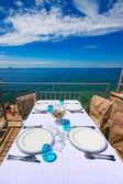 Croatia,Rovinj. The view from the restaurant on the Adriatic — Foto de Stock