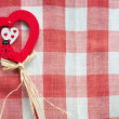 Wooden red heart with ladybug — Stock Photo