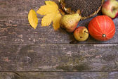 Autumn composition. Fruit on a wooden background. — Stock Photo