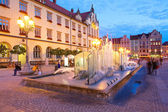 Fountain and Market Square. Wroclaw, Poland. — Stock Photo