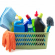 Cleaning products on white background. — Stock Photo