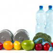 Stock Photo: Dumbbell with fruits and vegetables on white background.