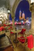 Krakow Cloth Hall at night — Stock Photo