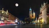 Market Square in Krakow at night — Stock Photo