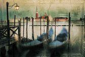 Gondolas on the Grand Canal retro style, Venice, Italy. — Stock Photo
