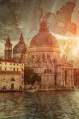 Basilica of santa maria della salute retro tarzı — Stok fotoğraf
