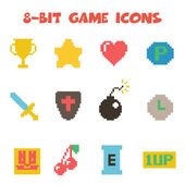 8 bit item icons color — Stock Vector