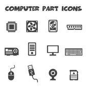 Computer part icons — Vettoriale Stock