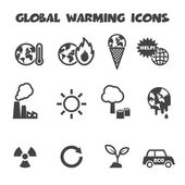 Global warming icons — Stock Vector