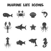 Marine life icons — Vector de stock