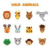 Wild animal icons — Stock Vector