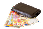 New purse full banknotes — Stock Photo