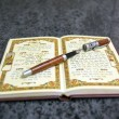 Stock Photo: Fountain pen at book