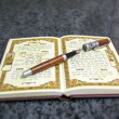 Stockfoto: Fountain pen at book