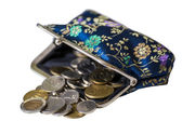 Purse full coins — Stock Photo