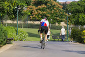 Bicyclist at park — Stock Photo