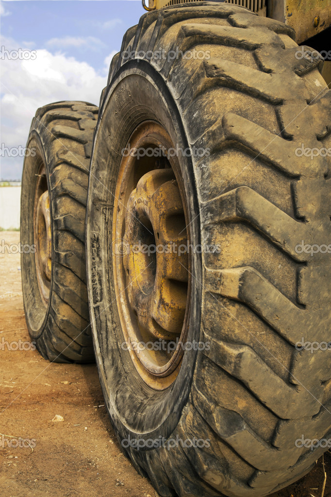 Two dirty tractor wheels  Stock Photo #13255658