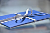Gift card with ribbon. — Stock Photo