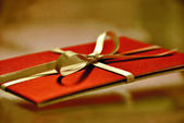 Red gift card. — Stock Photo