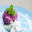 Ice-cream with a currant and mint on a table — Stockfoto