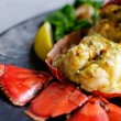 Gourmet lobster dinner at the restaurant — Stock fotografie