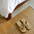 Stock Photo: Slippers and part of blanket, hospitality concept