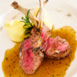 Gourmet Main Entree Course Grilled Lamb steak with spicy Pepper - Foto Stock