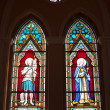 Painted Glasses of Saints in The Roman Catholic Church at chanthaburi, Thailand — Stock Photo