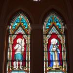 Painted Glasses of Saints in The Roman Catholic Church at chanthaburi, Thailand — Stock Photo #18999099