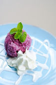 Ice-cream with a currant and mint on a table — Stock Photo