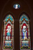 Painted Glasses of Saints in The Roman Catholic Church at chanthaburi, Thailand — Stock Photo