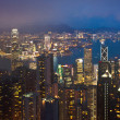 Hong Kong cityscape at night panorama — Stok fotoğraf