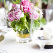 Place setting on a table at a wedding reception — Stock Photo