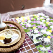 Shallow depth spa massage setting with thai herbal compress — Stock Photo