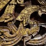 Texture art craft thai style on the temple wall — Stock Photo