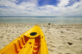 Paddle boats on white sandy beach and blue sea — Stock Photo