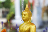 Water pouring to Buddha statue in Songkran festival tradition — Stock Photo