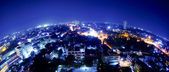 Thailand night view from building(fisheye lens) — Stock Photo