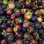 Mangosteen fruits at Thailand morning market — Stock Photo
