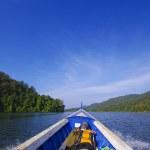 Blue sea boat sailing — Stock Photo #20058531