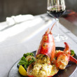 Gourmet lobster dinner at the restaurant — Stock Photo