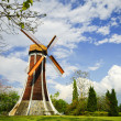 Wind turbine and blue clear sky in summer - Lizenzfreies Foto
