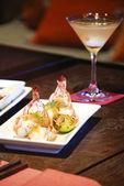 Fried Shrimps with white wine — Stock Photo