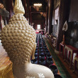 Behind buddha and The alms bowl of the buddha statue - Stock Photo
