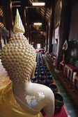 Behind buddha and The alms bowl of the buddha statue — Stock Photo
