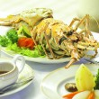 Lobster food on dining table in restaurant — Stock Photo #26415793