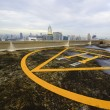 Stock Photo: Peak helipad under sunrise
